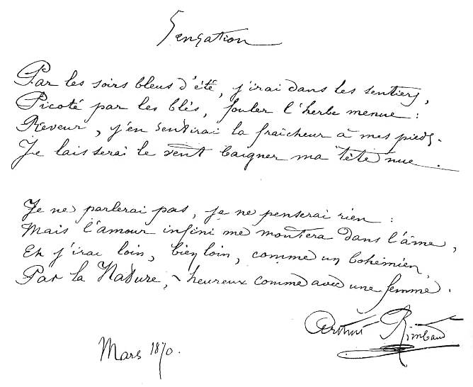 texte manuscrit de Sensation